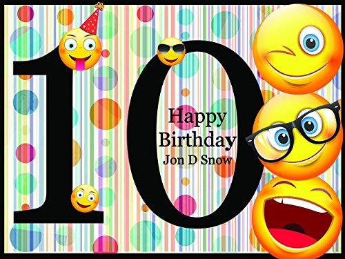 Custom Emoji Personalized Birthday Poster with Happy Smileys for Kids - size 24x36, 48x24, 48x36; Emojis Birthday Party Banner Wall Décor, Handmade Party Supply Poster Print