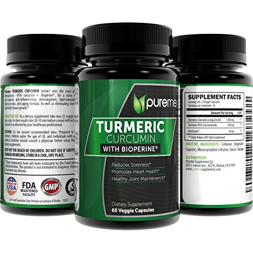 Turmeric Curcumin with Bioperine & Ginger 2620mg/Serving 60 VCaps by Pureme - Great Vegan Joint Pain Relief, Anti-Inflammatory, Antioxidant with 95% Standardized Curcuminoids Supplement