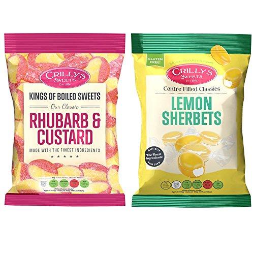 Crillys Rhubarb & Custard and Lemon Sherbets (130g) British Sweets/Candy