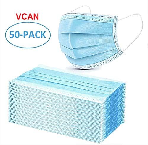 VCAN 50 Pcs Disposable Earloop Face Masks (Blue)