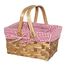 Vintiquewise Rectangular Basket Lined with Gingham Lining, Small