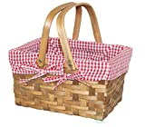 Vintiquewise(TM Rectangular Basket Lined with Gingham Lining, Small
