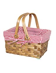 Vintiquewise(TM) Rectangular Basket Lined with Gingham Lining...