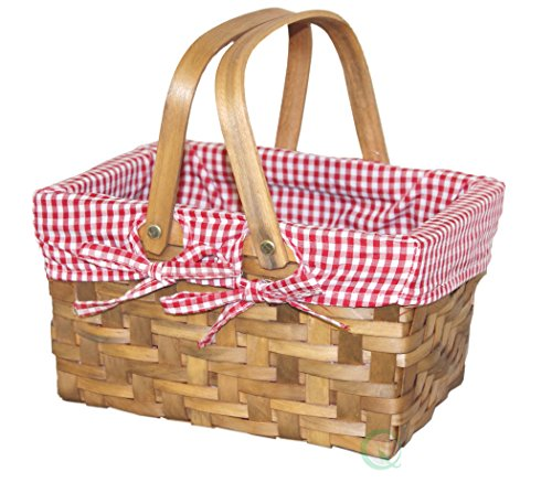 Vintiquewise(TM) Rectangular Basket Lined with Gingham Lining, (Little Red Riding Hood Basket)
