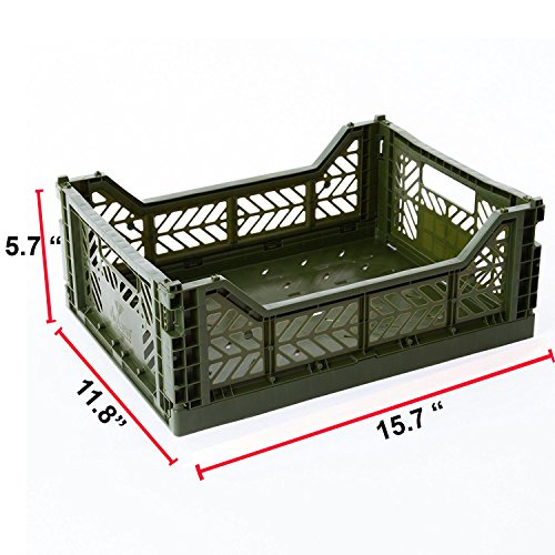 (AYKASA Collapsible Storage Bin Container Basket Tote, Folding Basket Crate Container : Storage, Kitchen, Houseware Utility Basket Tote Crate - Midi-Box (Khaki) )