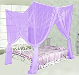 MAGILONA Home 4 Corner Post Bed Canopy Cover Mosquito Net Bedding or Outdoors Netting Repellent Fit Twin, Full, Queen, King Bed Protection (Purple)