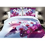 Luxury 3d oil painting purple floral Duvet Cover set 4pcs sheet pillow cases bedding set queen/king size fashion A