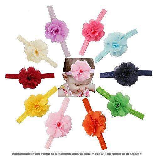 Welandtech Boutique Baby Girl Headbands Chiffon Flowers Hair band - 10 Value Pack