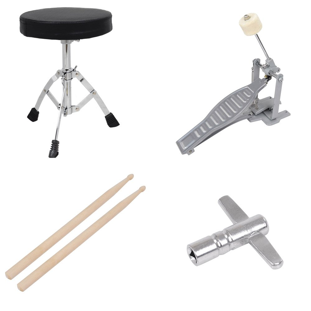 3pcs Junior Kids Child Drum Set Kit Sticks Throne Cymbal Bass Snare Boy Girl Red by AW (Image #9)