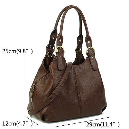 Strap bag Multiple lady long Long Size Bag shoulder with Womens Shoulder New women's Medium Fuchsia bags Craze Pockets and strap London aPxfnFw8