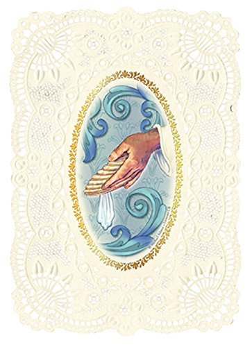 Baptism Prayer Cards Catholic Holy with Lace Punch Trim, Pack of 6