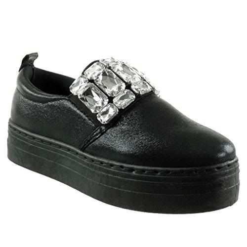 Angkorly Damen Schuhe Sneaker - Plateauschuhe - Schmuck - Strass - Glänzende Flache Ferse 4 cm - Schwarz HX-005 T 36 OOzR8kZ