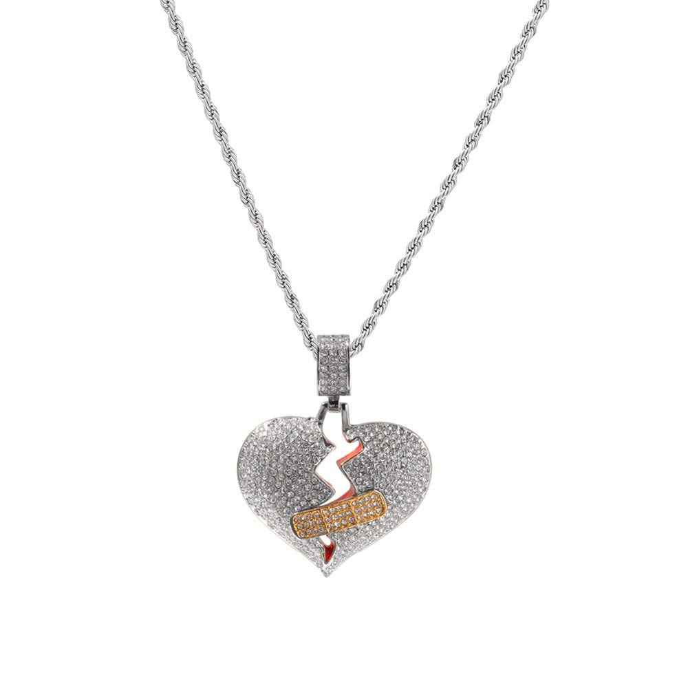 Iced Out Exquisite Band-Aid Heartbreak Pendant Chain Zark99 Unisex CZ Simulated Diamond Hip Hop Necklace