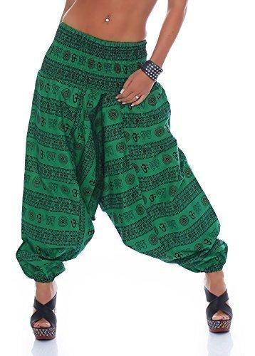 Señoras Pantalones De Harén Yoga Pantalón aladino ancho Pantalón bombacho Pantalón bombacho ommmmpatrón ligero Algodón Talla Única Verde