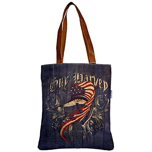 Guy Harvey American Flag Vintage Distressed Canvas Shoulder Tote