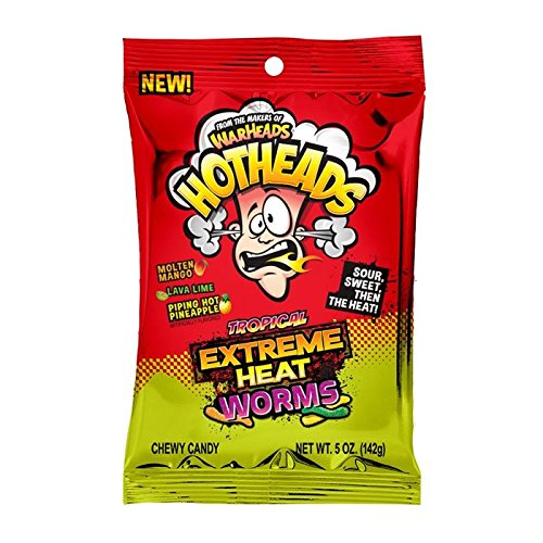 Warheads Hothead Extreme Heat Worms Tropical 5oz