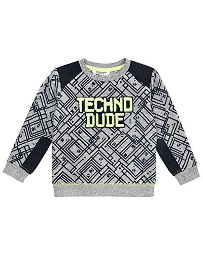 (Petit Lem Boys' Little Techno City L/s Knit T-Shirt, Heather Grey, 4)