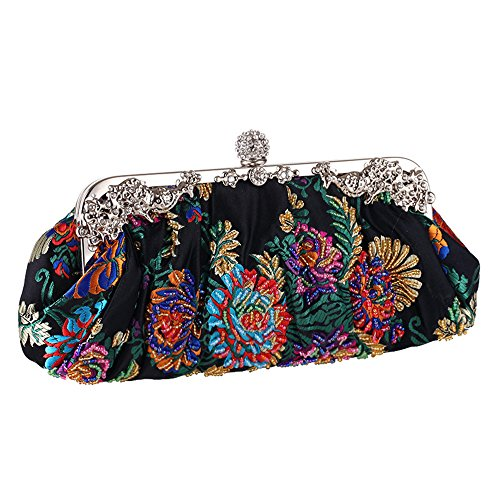 (Vintage Jewels Beaded Floral Embroidered Evening Clutch 2017 Sparkly Ball Clasp Metal Top Hand)