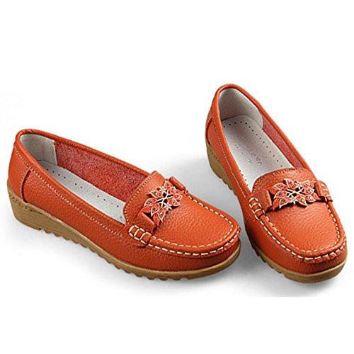 Mocassini Donna In Pelle Oxford Slip On Walking Flats Scarpe Antiscivolo Arancione
