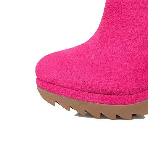 AgooLar Damen Rund Zehe Niedrig-Spitze Hoher Absatz Stiefel mit Metallisch Rosa