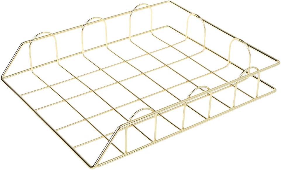 Bhty235 Revistero archivador, plegable de hierro forjado, soporte de revista, bandeja de almacenamiento para organizador de escritorio suministros, color dorado