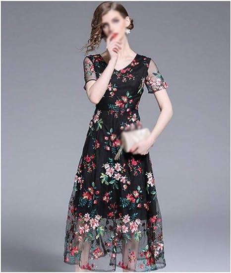 ZSRHH-Falda Vestido de Mujer Vestido de Bordado de Malla Negra for ...