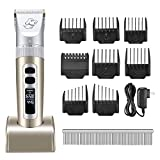 OMORC Electric Dog Clippers,Low Noise Pet Clippers Rechargeable Cordless Professional Dog Grooming Clippers with LED Display, 8 Comb Guides, 1 Comb,1 Brush for Most Animals