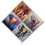 """Custom & Cool {4'' Inches} Set Pack of 4 Square """"Flat & Smooth Texture"""" Assorted Large Drink Cup Coasters Made of Genuine Natural Stone w/ Cork Back & Oriental Asian Elephant Animal Design [Multicolor]"""