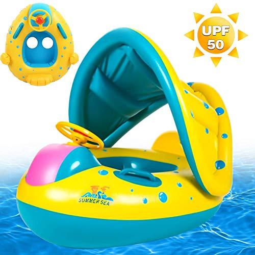 Baby Pool Float Swimming Float with Canopy Shade