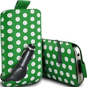 ONX3 Nokia Asha 502 Leather Slip Protective PU Polka Tire Cord En Pouch Case Quick Release y 12v Micro USB cargador de coche (verde y blanco)