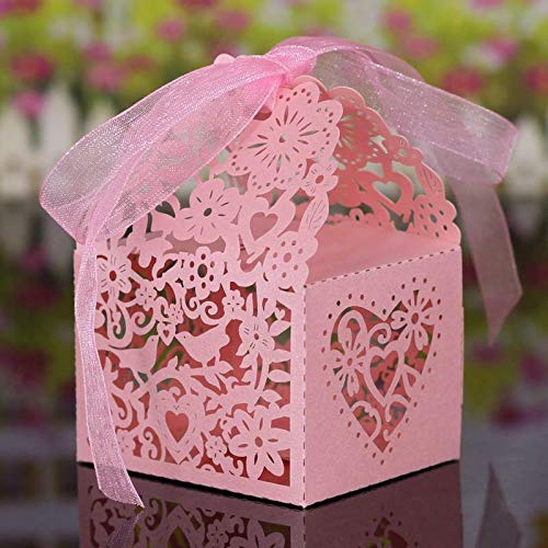 20Pcs Hollow Out Chocolate Candy Gift Boxes Wedding Party Favor Box With Ribbon |Color - Bird Heart Pattern - Petticoat Iridescent