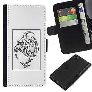 KLONGSHOP // Tirón de la caja Cartera de cuero con ranuras para tarjetas - Monster Tattoo Art Poster Spooky - Sony Xperia Z2 D6502 //