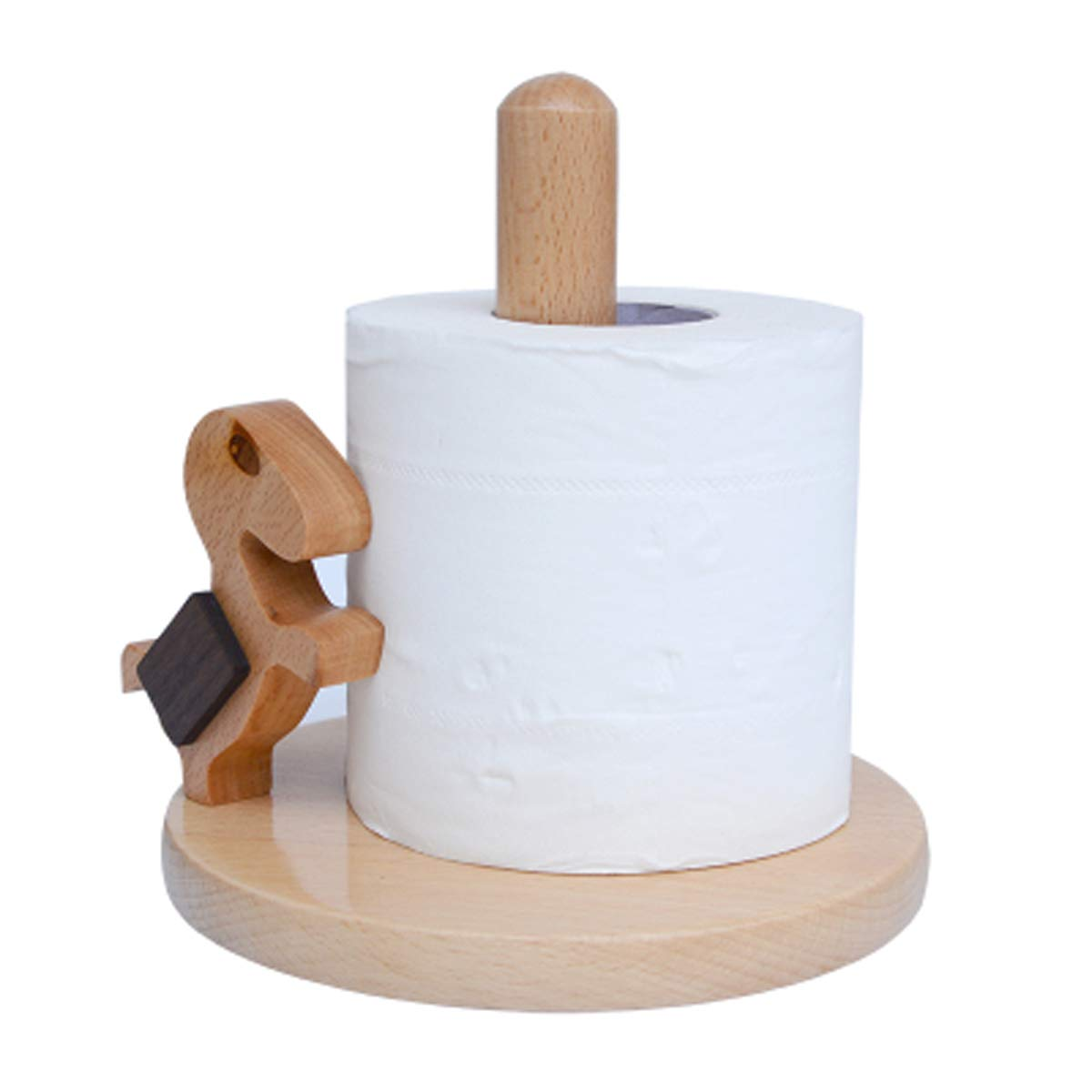 Q&F Toilet Paper Holder Home Solid Wooden Tissue Holder,Waterproof,Non-slip,Desktop Storage Rack by Q&F (Image #1)