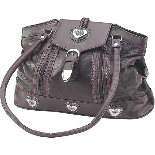 Brown Embassy Bag (Embassy Large Brown Genuine Leather Purse Southwest Silver Heart Conchos)