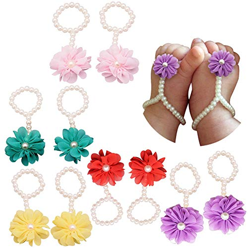 5 Pairs Baby Girl Pearl Chiffon Foot Flower Shoes Barefoot Sandals Foot Band Toe Rings, Wedding Child Sandals Anklet Chain Crib Baby Shoes (Set S)