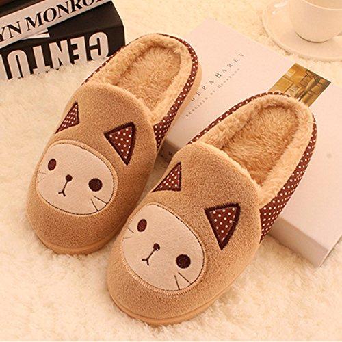 Y-Hui un paio di caldo Inverno Home e cotone pantofole pantofole con la metà di un pacco di slittamento,42-43 maschio /290mm,Beige