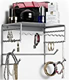 Silver 10'' Wall Mount Jewelry & Accessory Storage Rack Organizer Shelf for Earrings, Bracelets, Necklaces, & Hair Accessories