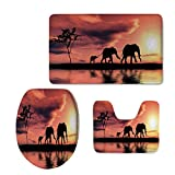 Fashion 3D Baseball Printed,Elephants Decor,Elephant Silhouettes by a River Africa Animals Wildlife Adventure Landscape Decorative,U-Shaped Toilet Mat+Area Rug+Toilet Lid Covers 3PCS/Set