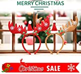 Christmas and Holiday Party Antler Headband, Red Santa Claus Reindeer Headbands for Kids and Adults, (2 Pack)