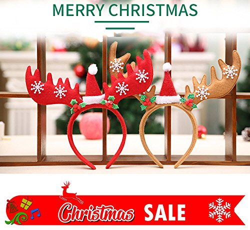 Christmas and Holiday Party Antler Headband, Red Santa Claus Reindeer Headbands for Kids and Adults, (2 Pack)]()