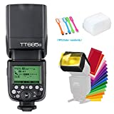 Godox TT685N TTL 2.4GHz GN60 High-Speed Sync 1/8000s Wireless Master Slave Flash Speedlite light For Nikon Cameras I-TTL II auotflash +Diffuser & Filter +CONXTRUE USB LED Free Gift