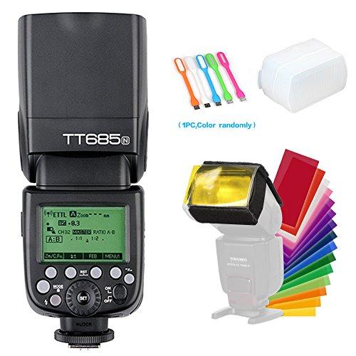Godox TT685N TTL 2.4GHz GN60 High Speed Sync 1/8000s Wireless Master Slave Flash Speedlite Light Compatible for Nikon Cameras (I-TTL II autoflash)+Diffuser & Filter +CONXTRUE USB LED