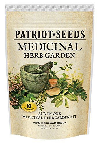 Patriot Seeds 10 Variety Seed Pack 100-Percent Heirloom Medicinal Herb Garden ()