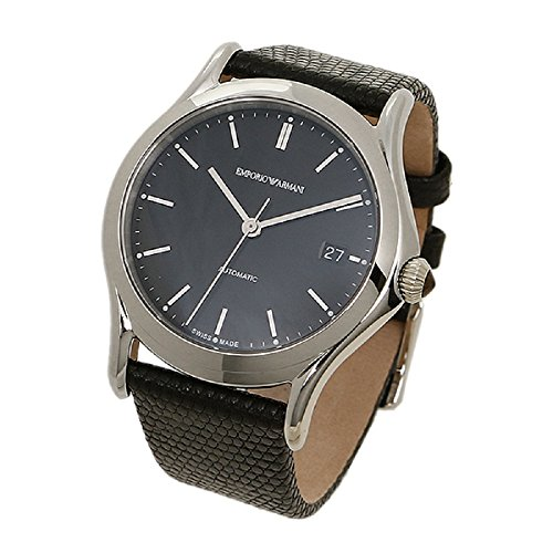 Emporio Armani Swiss Made Men's Swiss Quartz Stainless Steel and Leather Dress Watch, Color:Black (Model: ARS3101)