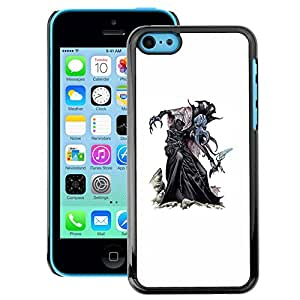 A-type Arte & diseño plástico duro Fundas Cover Cubre Hard Case Cover para iPhone 5C (Character Monster Witch Halloween White)
