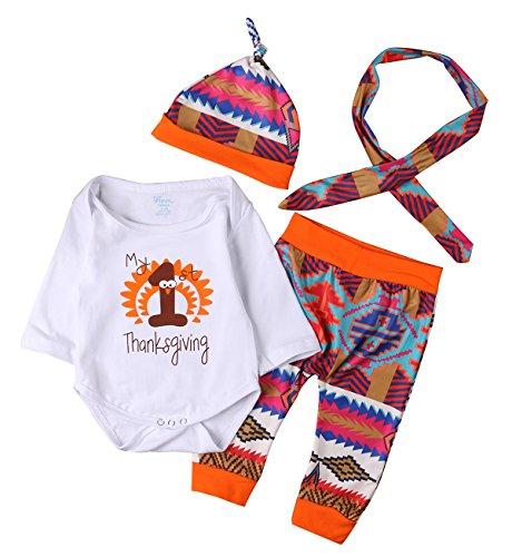 Baby Boys Girls First Thanksgiving Outfits Bodysuits Leggings Headband Hat Set Newborn Clothes (0-3M, (Thanksgiving Outfit For Baby Boy)