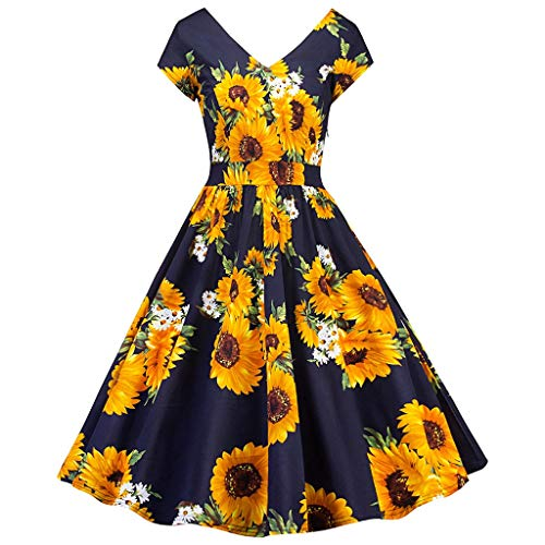 (Kulywon Women's Vintage Print Spring Vintage Country Rock Cocktail Dress Yellow)