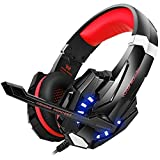 BENGOO Stereo Gaming Headset for PS4, PC, Xbox One Controller, Noise Cancelling Over Ear Headphones with Mic, LED Light, Bass Surround, Soft Memory Earmuffs for Laptop Mac Nintendo Switch Games (Red)