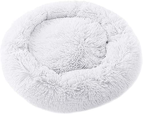 Baovery 50CM White Pet Dog Cat Calming Bed, Round Donut Bed, Nest Warm Soft Plush Comfortable for Small Medium Pet