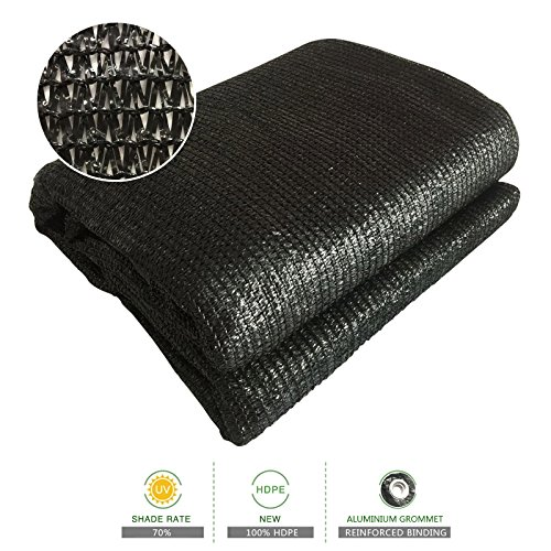 Sun Shade Cloth 70% Sunblock Black Greenhouse Shade Net 6.5'x13' UV Block Shade Tarp with Dark Taped Edge& Aluminium Grommets for Garden Plants by SUNSHORE